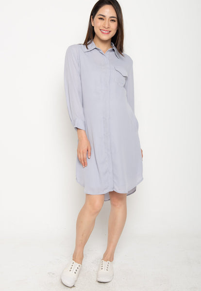 Sejal Nursing Shirtdress in Grey