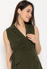 Mothercot Quinn Collared Nursing Dress in Green  by JumpEatCry - Maternity and nursing wear