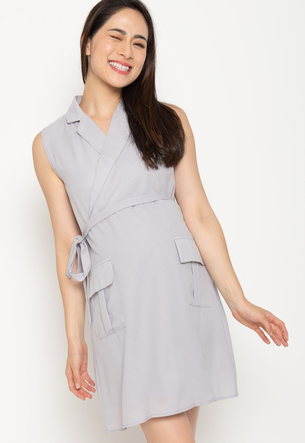 Quinn Collared Nursing Dress in Grey  by Jump Eat Cry - Maternity and nursing wear