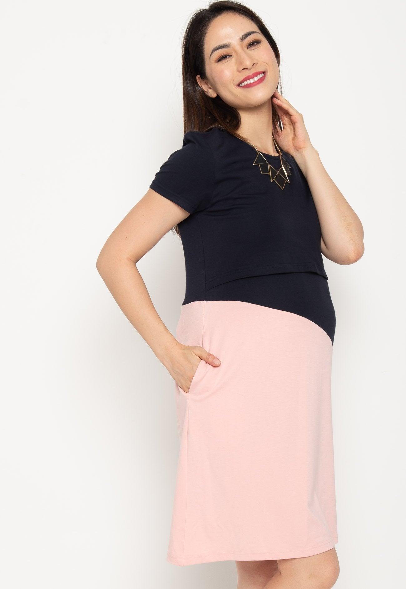 Rhea Colourblock Nursing Dress  by Jump Eat Cry - Maternity and nursing wear