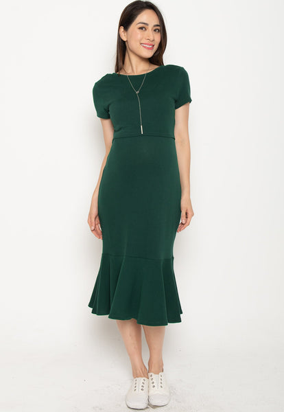 Xara Mermaid Nursing Dress in Green