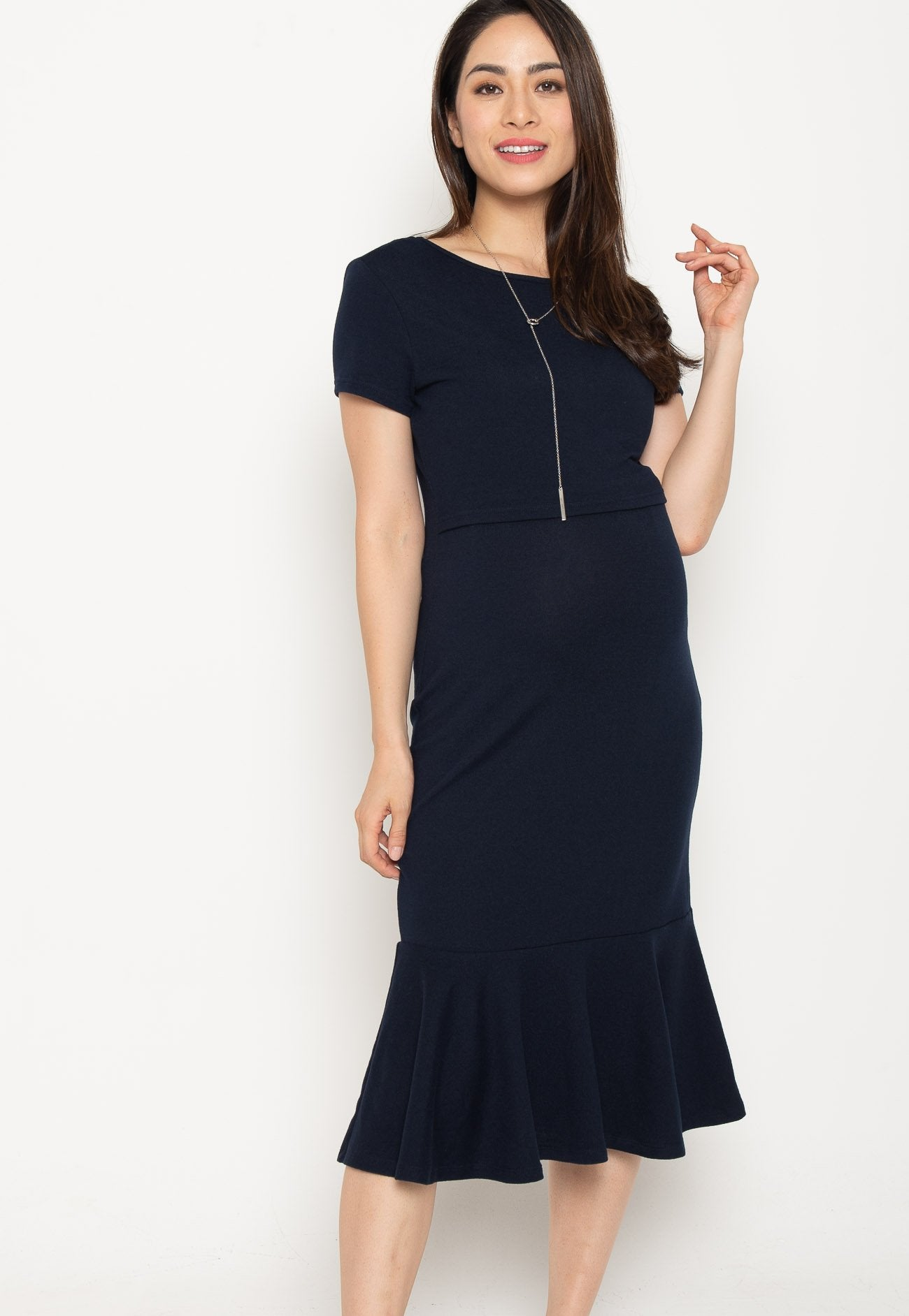 Xara Mermaid Nursing Dress in Navy