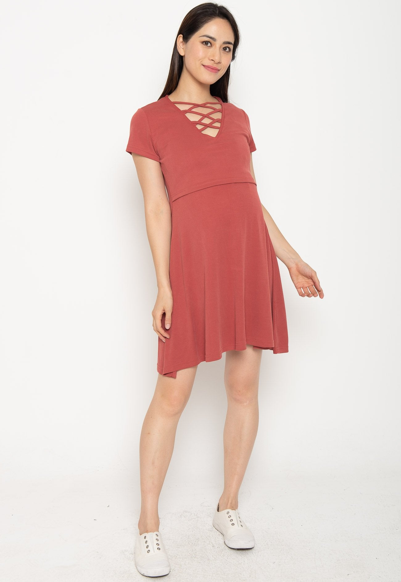 Mothercot Ambar Crisscross Nursing Dress in Red  by JumpEatCry - Maternity and nursing wear