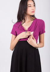 Mothercot Purple And Black Nursing Wrap Dress  - Maternity and nursing wear
