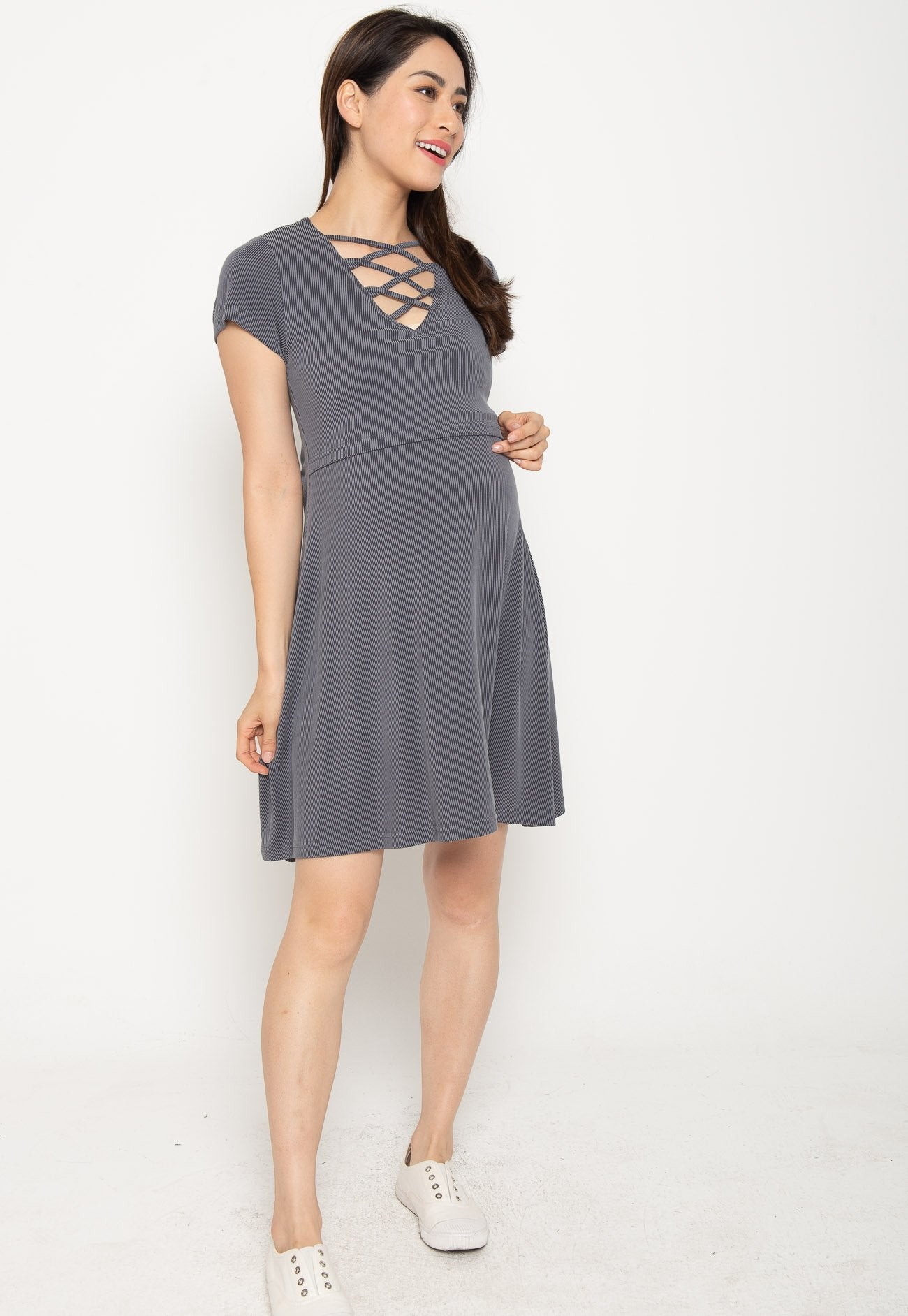 Ambar Crisscross Nursing Dress in Grey  by Jump Eat Cry - Maternity and nursing wear