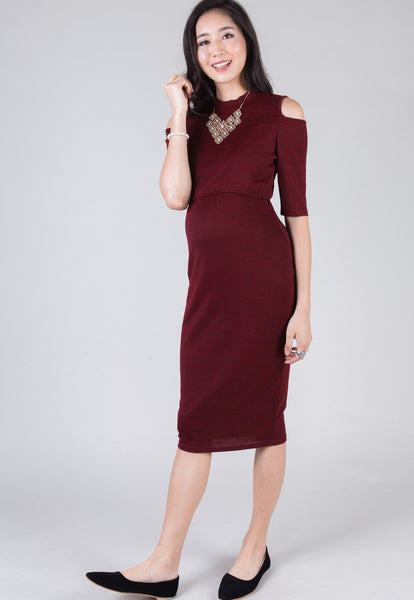 Red Callie Midi Nursing Dress