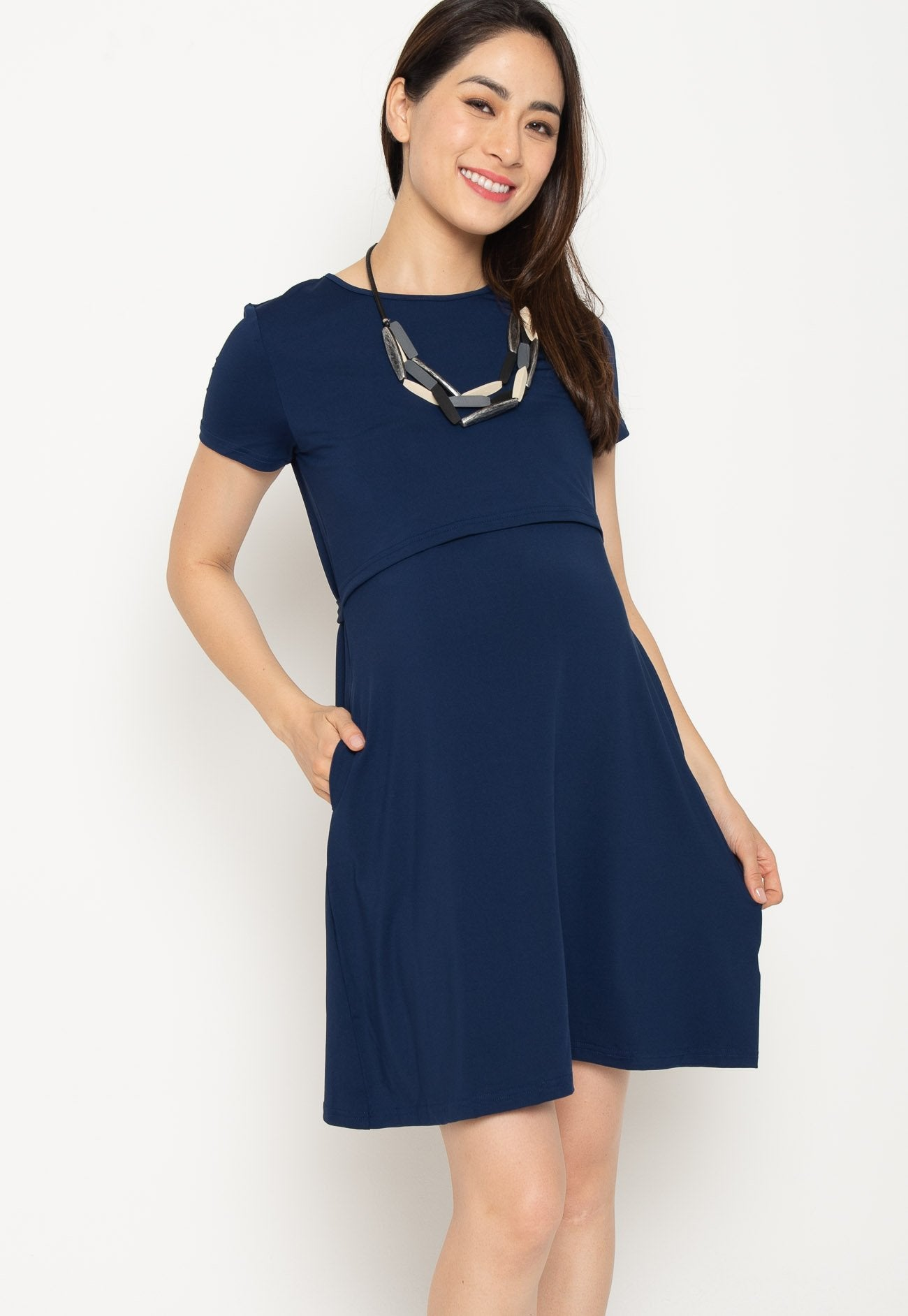 Mothercot Cotton Nursing Dress in Navy  by JumpEatCry - Maternity and nursing wear