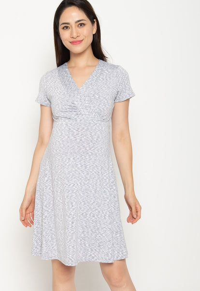 Conley Stripes Empire Nursing Dress In Light Grey
