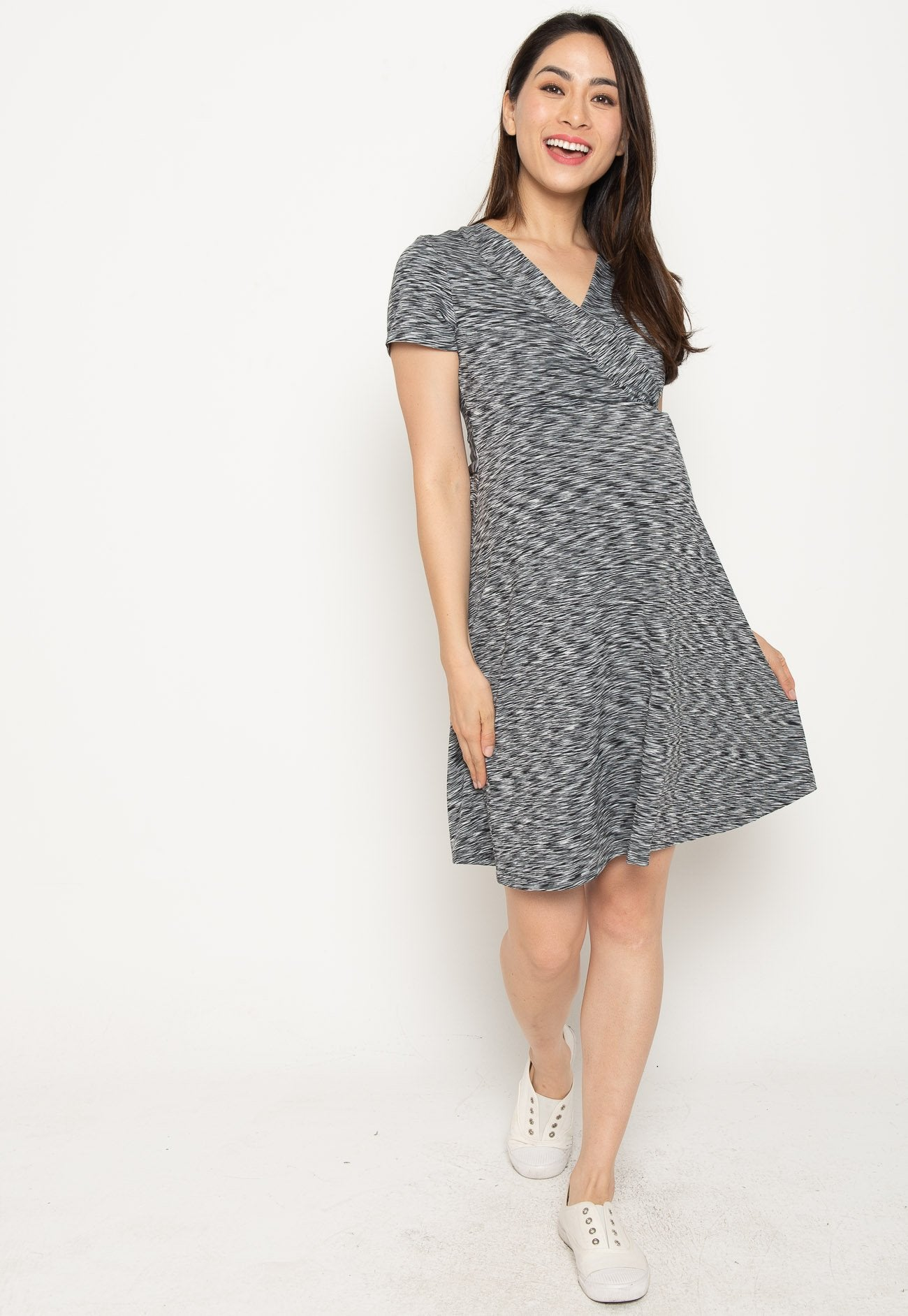 Mothercot Conley Stripes Empire Nursing Dress In Black  by JumpEatCry - Maternity and nursing wear