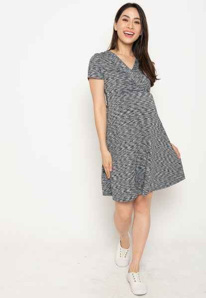 Conley Stripes Empire Nursing Dress In Black