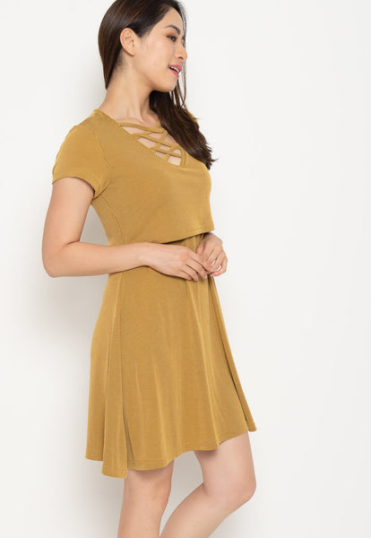 Ambar Crisscross Nursing Dress in Yellow