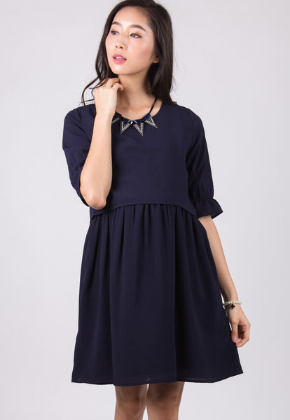 Navy Gianna Empire Nursing Dress