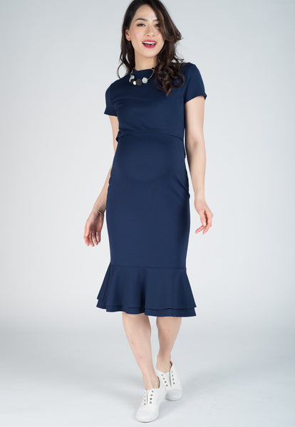 Navy Mermaid Hem Bodycon Nursing Dress
