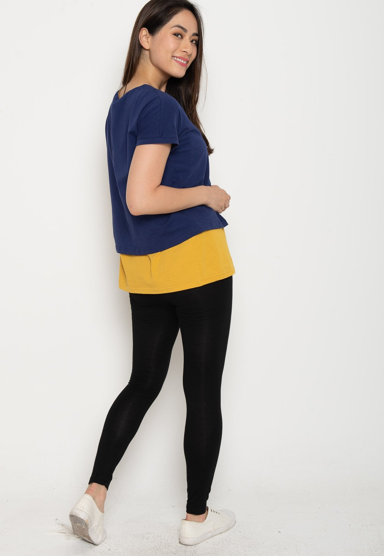 088448bb9c28b ... Two Tone Layered Nursing Top in Navy and Yellow Nursing Wear Mothercot