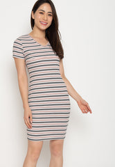 Paige Bodycon Nursing Dress in Pink  by Jump Eat Cry - Maternity and nursing wear