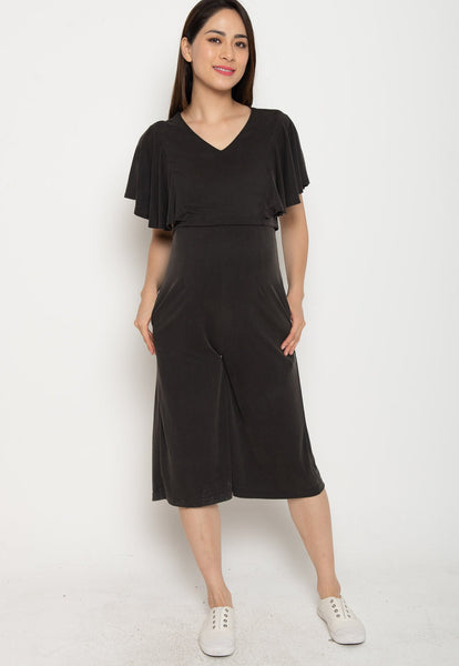 Oviya Butterfly Sleeves Nursing Jumpsuit in Black