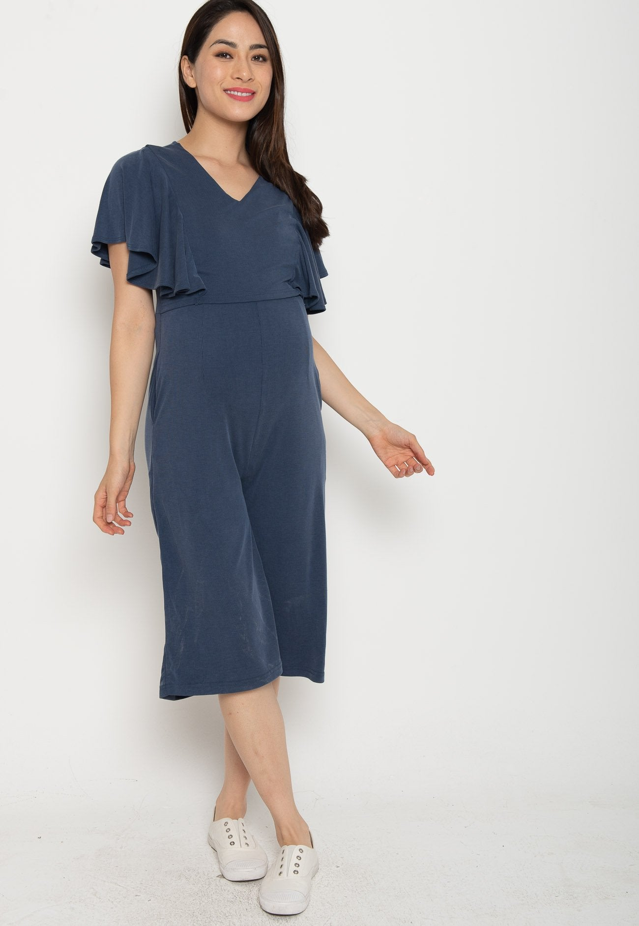 Oviya Butterfly Sleeves Nursing Jumpsuit in Blue  by Jump Eat Cry - Maternity and nursing wear