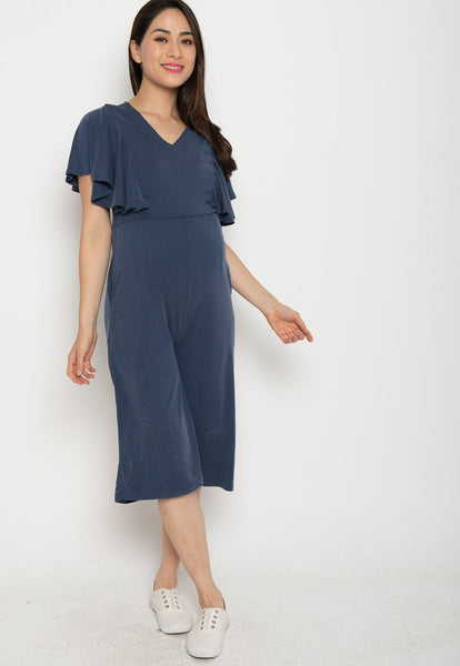 Oviya Butterfly Sleeves Nursing Jumpsuit in Blue