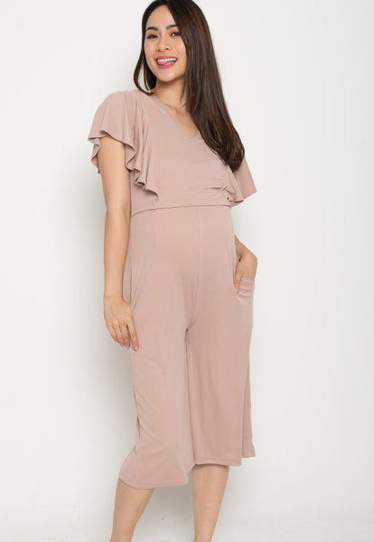 Oviya Butterfly Sleeves Nursing Jumpsuit in Pink