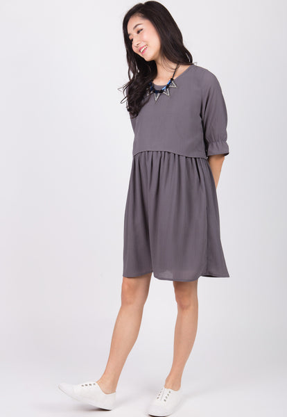 Grey Gianna Empire Nursing Dress