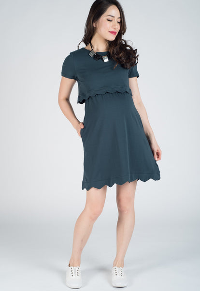 Blue Green Scallop Hem Nursing Dress