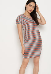 Paige Bodycon Nursing Dress in Rust  by Jump Eat Cry - Maternity and nursing wear