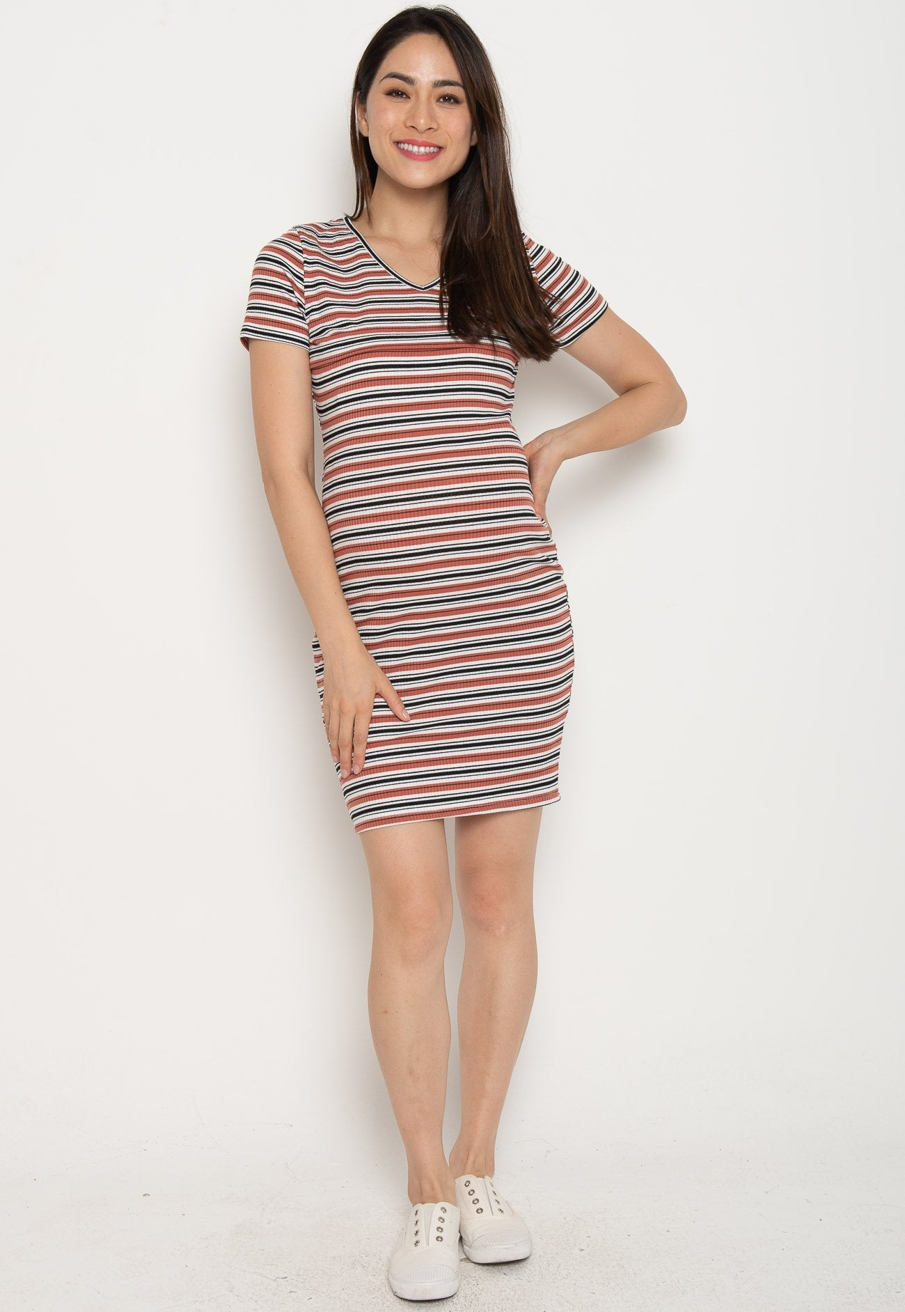 Mothercot Paige Bodycon Nursing Dress in Rust  by JumpEatCry - Maternity and nursing wear