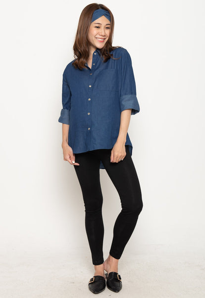 Cotton Jeans Casual Nursing Top in Dark Jeans
