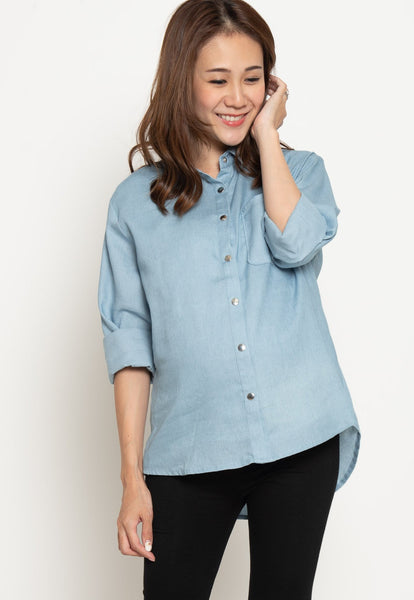 Cotton Jeans Casual Nursing Top in Light Jeans