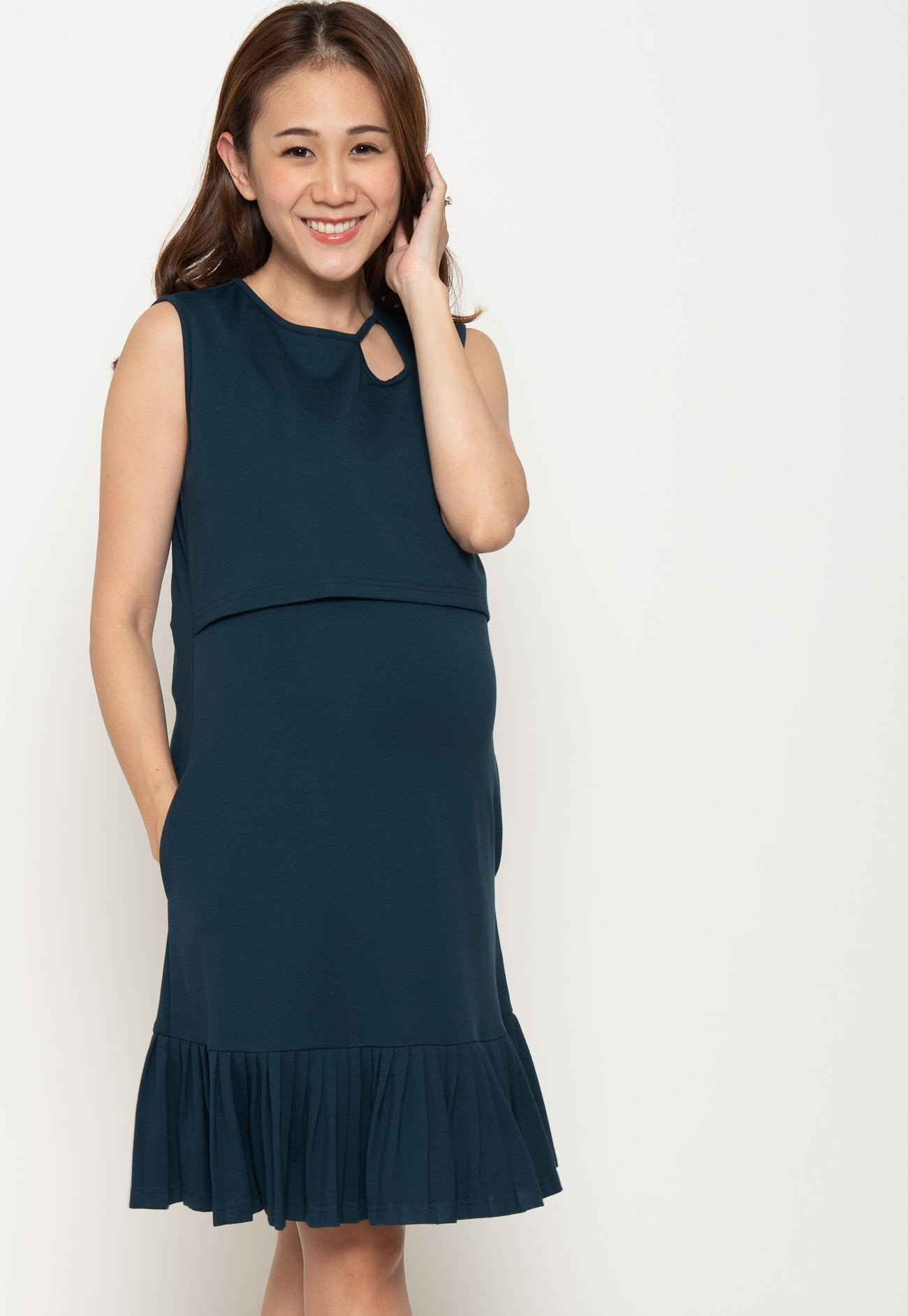 Peni Pleated Nursing Dress in Navy  by Jump Eat Cry - Maternity and nursing wear
