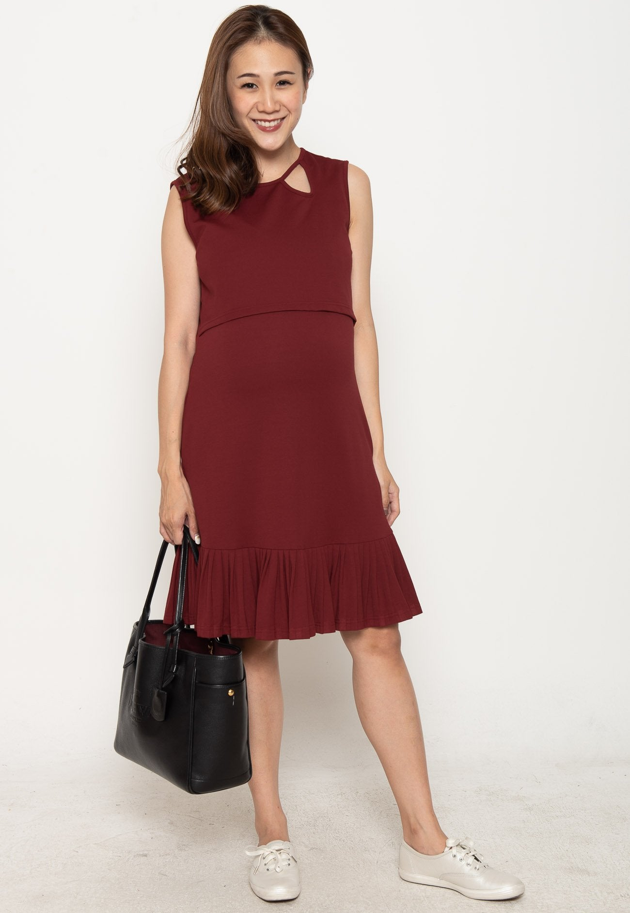 Mothercot Peni Pleated Nursing Dress in Red  by JumpEatCry - Maternity and nursing wear