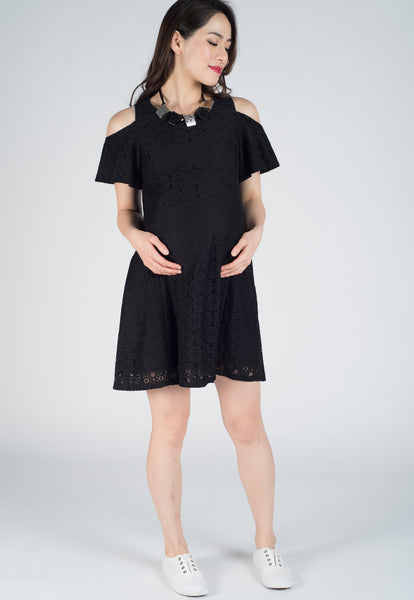 Black Ruffled Sleeves Lace Nursing Dress