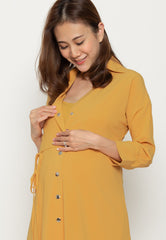 Isadora Button Down Nursing Dress in Yellow  by Jump Eat Cry - Maternity and nursing wear