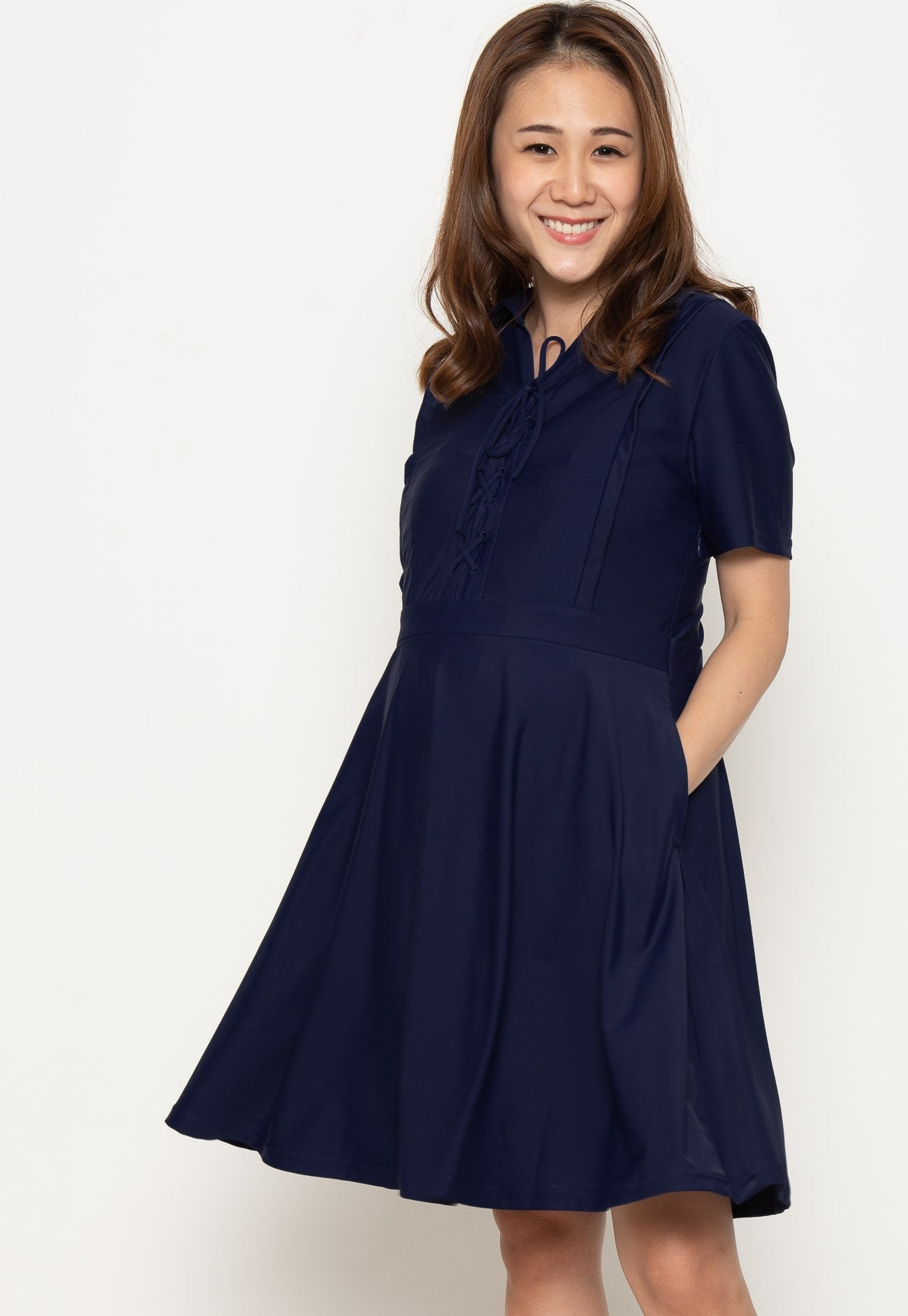 Crisscross Lace Nursing Dress in Navy  by Jump Eat Cry - Maternity and nursing wear
