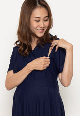 Mothercot Crisscross Lace Nursing Dress in Navy  by JumpEatCry - Maternity and nursing wear