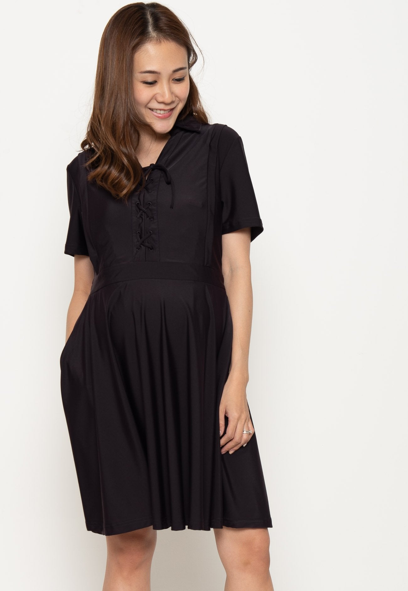 Crisscross Lace Nursing Dress in Black Burgundy  by Jump Eat Cry - Maternity and nursing wear