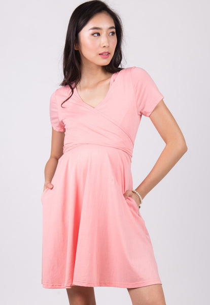 Baby Pink Nursing Wrap Dress