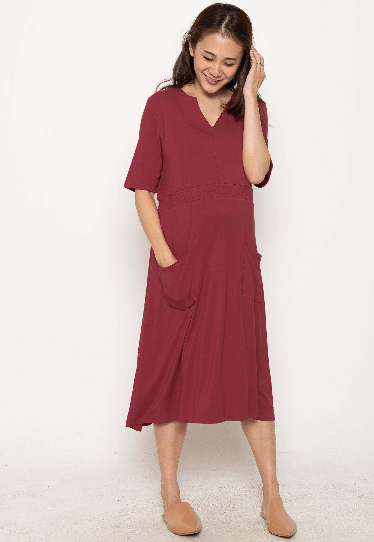 Clio Zipped Down Nursing Dress in Red  by JumpEatCry - Maternity and nursing wear