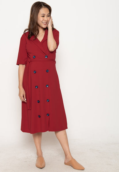 Annora Double Buttons Nursing Dress in Red