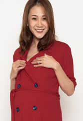 Annora Double Buttons Nursing Dress in Red  by Jump Eat Cry - Maternity and nursing wear
