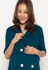 Annora Double Buttons Nursing Dress in Blue Green  by Jump Eat Cry - Maternity and nursing wear