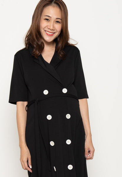 Annora Double Buttons Nursing Dress in Black