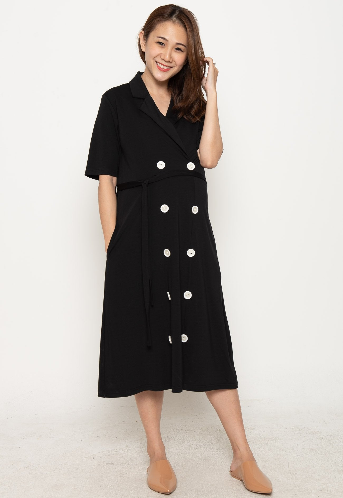2a0b5dbd6dc1d ... Annora Double Buttons Nursing Dress in Black by Jump Eat Cry - Maternity  and nursing wear ...