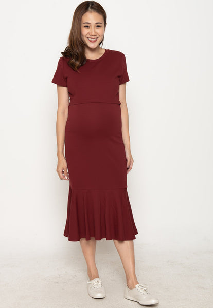 Stop The Crowd Nursing Dress in Red
