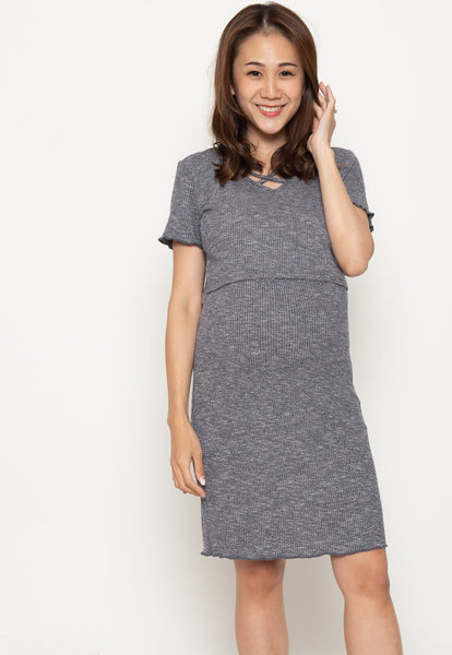 V-neck crossover Nursing Dress in Blue