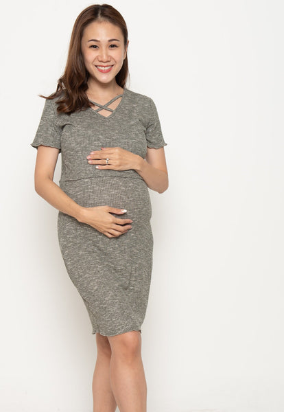 V-neck crossover Nursing Dress in Grey