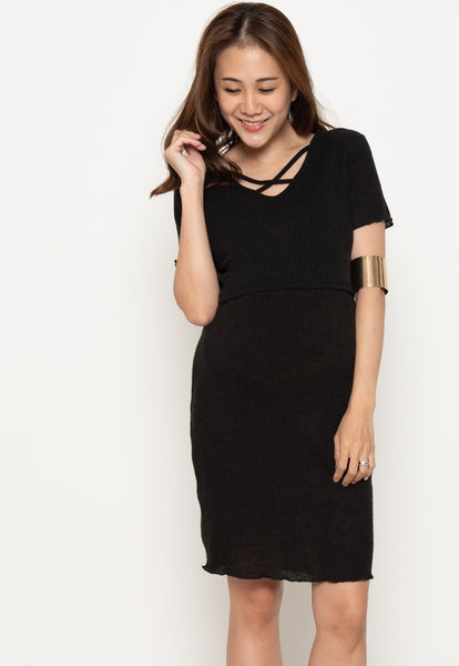 V-neck crossover Nursing Dress in Black