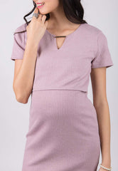 Nelya Ribbed Knit Nursing Dress In Pink  by Jump Eat Cry - Maternity and nursing wear