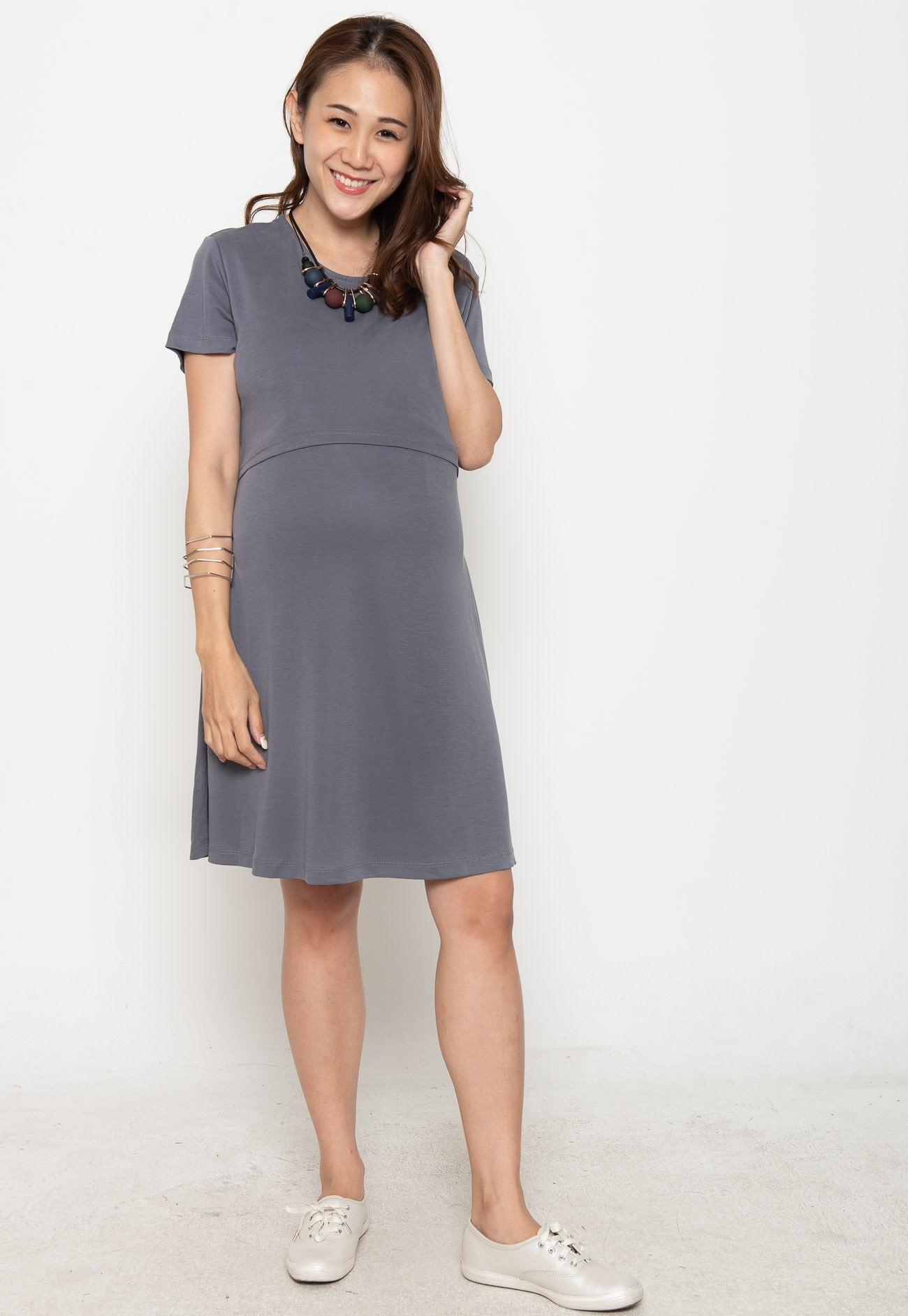 Circe Basic Nursing Dress in Grey  by Jump Eat Cry - Maternity and nursing wear