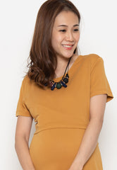 Circe Basic Nursing Dress in Yellow  by Jump Eat Cry - Maternity and nursing wear